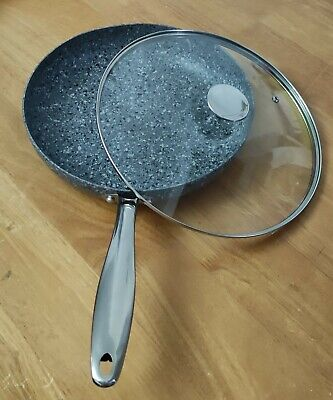 £42.50 • Buy MICHELANGELO Frying Pan With Lid 28cm, Non Stick, Granite (Oven Safe)
