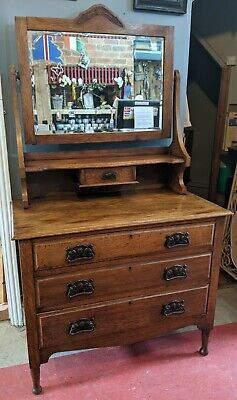 £170 • Buy Edwardian Oak Chest Of Drawers - Dressing Table With Bevelled Mirror
