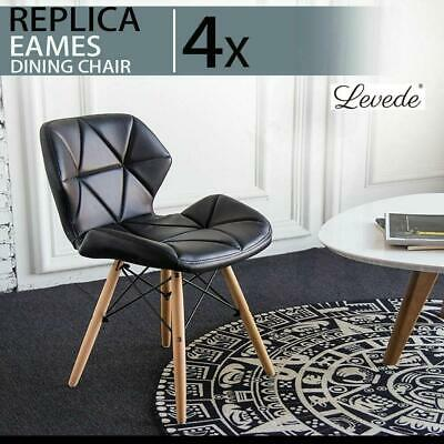 AU144.50 • Buy RETURNs Levede 4x Retro Dining Chairs Leather Padded Seat Home Office Cafe Chair