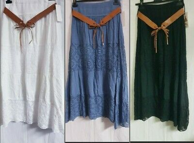 £12.99 • Buy New Ladies  Italian Quirky Boho Belt Gypsy Tiered Hitched Long Maxi Skirt