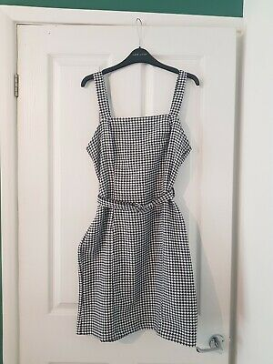 £3.50 • Buy Dogtooth Fitted Pinafore Shift Dress With Belt Detail Nobodys Child Size 12