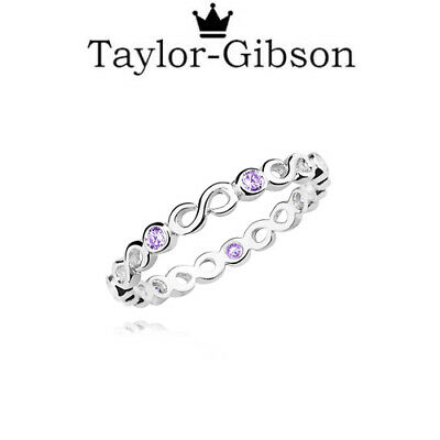 £10.44 • Buy 925 Sterling Silver Infinity Ring Light Amethyst Purple Size H - Z Solid Silver