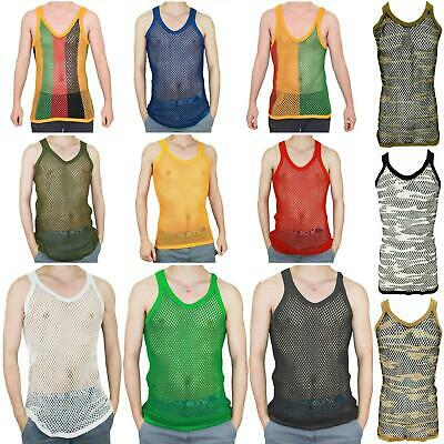 £4.49 • Buy Mens String Mesh Vest Slim Fit 100% Cotton Fish Net Fitted Tank Tops Sizes L-xl
