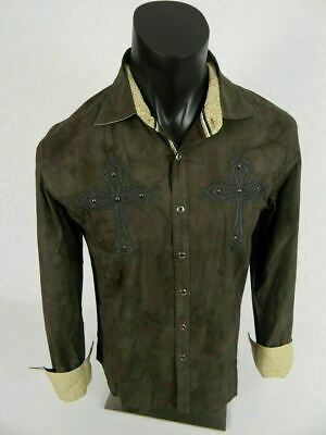 $21.95 • Buy Mens Western Style Shirt Brown Embroidered Crosses Studs Stretch Button Front