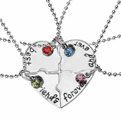 £3.99 • Buy 4pcs Best Friends Forever Necklace Friendship BFF Crystal Broken Heart Puzzle