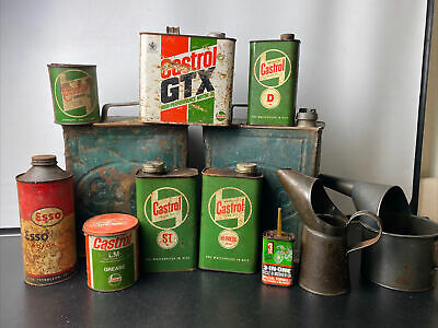 £175 • Buy Large Collection Of Vintage Oil Grease & Petrol Cans - Castrol Esso Etc.