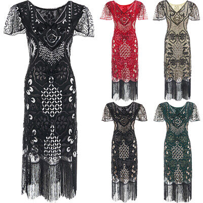 £10.99 • Buy 1920s Vintage Great Gatsby Charleston Wedding Party Sequins Dress Plus Size 6-20