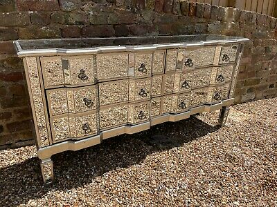 £324 • Buy Large Mirrored Sideboard Long Chest 6 Drawers Storage Venetian Glass - DAMAGED