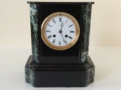 £345 • Buy An Elegant French Black Slate And Marble Mantel Clock C1880s