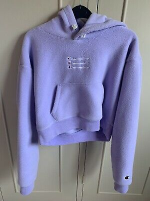 £1.50 • Buy Champion Cropped Fleece Hoodie, Lilac, Size Small