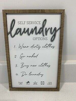 £10.99 • Buy Laundry Kitchen Wall Plaque White AND Grey SIGN PLAQUE