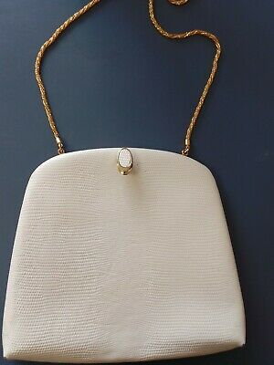 AU65 • Buy Vintage Oroton Clutch Cross Body Bag Cream White Cow Hide Leather Gold Chain