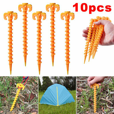 £5.99 • Buy 10x Tent Pegs Ground Screw Nails Outdoor Camping Spiral Stakes Plastic Tarp