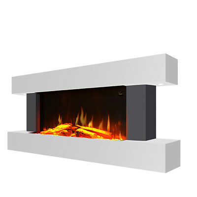 £409.95 • Buy 50 In LED Digital Fireplace White Surround Suite Wall Mounted Wide Electric Fire