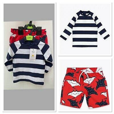 £11.99 • Buy NEW M&S Age 2-3 UV 2 Pc Sun Swim Protection Suit Navy Red Stingray Top & Shorts