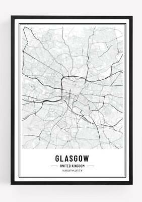 £3.99 • Buy Glasgow City Map Print Poster Picture Cityscape A4 Unframed Monochrome
