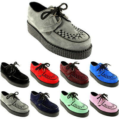 £69.99 • Buy Womens Underground Wulfrun Creepers Lace Up Goth Retro Shoes Suede New All Sizes