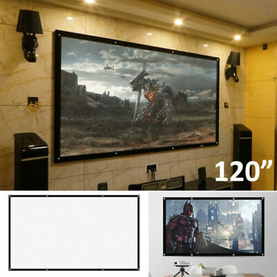 £2.42 • Buy 100  Inch Projector Projection Screen 16:9 White Matte 3D HD Home Cinema Theater