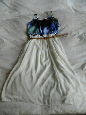 £6.99 • Buy Ruby Rocks Boutique Print Blue Cream Dress With Belt, Size 8UK, Small, S