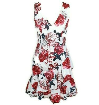 AU22 • Buy FOREVER NEW Size 8 Cream Pink Floral Dress With Ruffle Hem