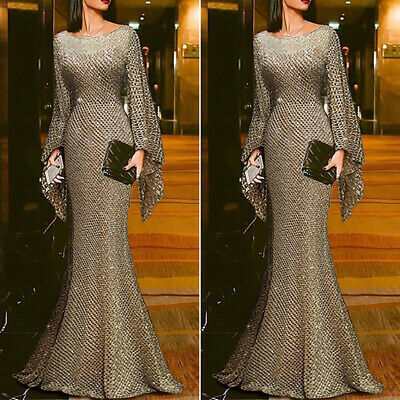 AU33.79 • Buy Womens Bodycon Bell Sleeve Maxi Dress Slim Fit Formal Party Evening Ball Gown AU