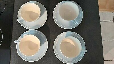 £24.50 • Buy Jasper Conran At Wedgwood - 4 X Casual Blue Earthenware Cups And Saucers