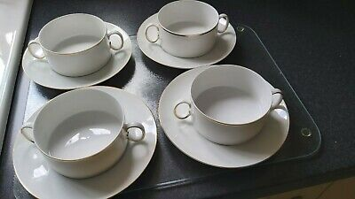 £10 • Buy 4 X Thomas Germany White With Gold Thin Gold Band Porcelain Soup Bowl And Saucer