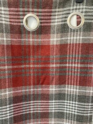 £16.79 • Buy Next Eyelet Curtains 66 X 72 In Gingham Red/gray/white