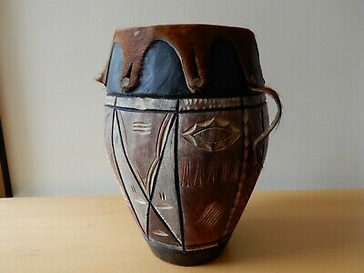 £25 • Buy Vintage, African, Hand Made, Maputo Drum With Animal Hide