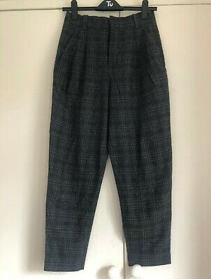 £8 • Buy Zara Checkered Smart High Waisted Trousers, Size S