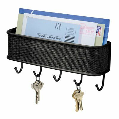 $12.49 • Buy Wall Mounted Mail Holder Metal Mail Sorter Organizer With 5 Key/Bag Hooks US