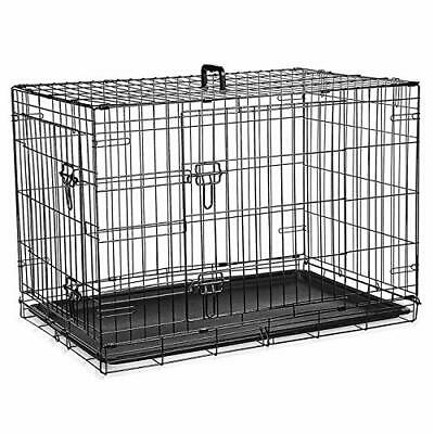 £86.99 • Buy 36inch Dog Cage Crate– Double Door Pet Black Metal Folding Cage With Chew