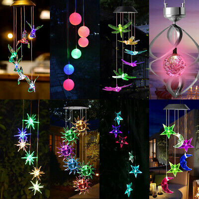 £10.79 • Buy Solar LED Wind Chime Light Color Changing Outdoor Garden Hanging Patio Lamp Lot
