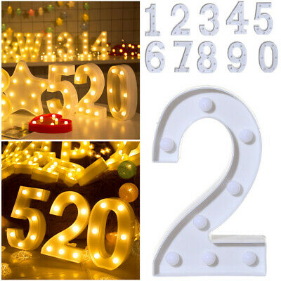 £5.99 • Buy Large LED Light Up Alphabet Letters Warm White Lights Plastic Numbers Standing 0