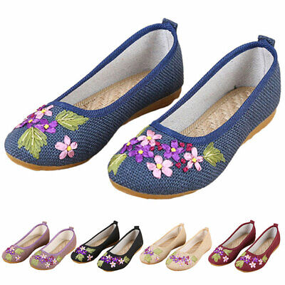 £13.69 • Buy Womens Loafers Mary Jane Flats Chinese Flower Embroidered Casual Cloth Shoes NEW