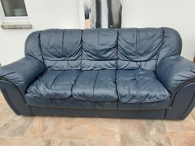 £60 • Buy Second Hand - 3 Seater Sofa - Blue Leather