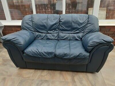 £50 • Buy Second Hand - 2 Seater Sofa - Blue Leather