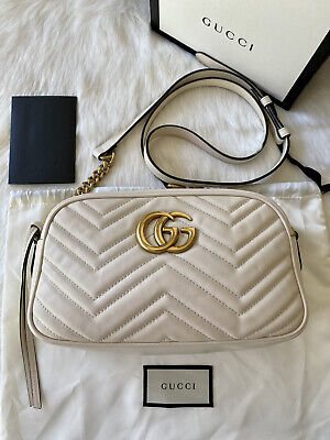 AU1750 • Buy Full Set! Authentic Gucci White Leather Gg Marmont Small Shoulder Bag Rrp$2150
