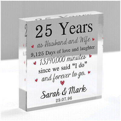 £12.95 • Buy PERSONALISED 25th Anniversary Gift Husband Wife Mum Dad Silver Wedding 25 Years