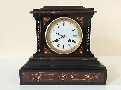£345 • Buy A Stylish French Slate And Marble Mantel Clock C1870