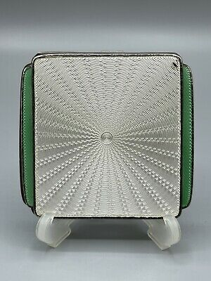 £239.99 • Buy Art Deco 1936 Solid Silver & Guilloche Enamel Compact Goldsmiths & Silversmiths