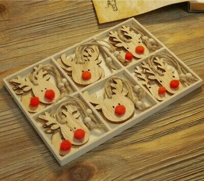 £7.95 • Buy Set Of 12 Hanging Wooden Reindeer Decorations - Christmas , Boxed