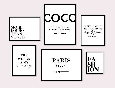 £19.99 • Buy Set Of 6 Coco Chanel Quote Poster Prints Gallery Wall Fashion Art Home Decor