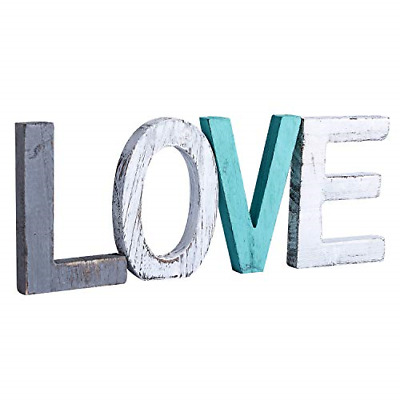 £18.12 • Buy Y&Me Rustic Wood Love Sign, Decorative Wooden Block Word Signs, Freestanding For