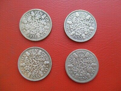 £4 • Buy 4 Sixpences - 1931 1932 1933 1936 - George V - 0.5 Silver  (ref 300)