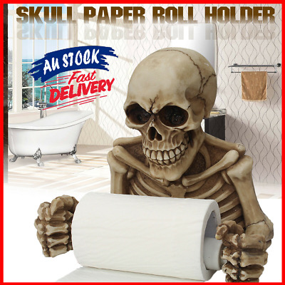 AU30.39 • Buy Skull Toilet Paper Roll Holder Wall Mounted Dry Towel Bathroom Home Decors AU