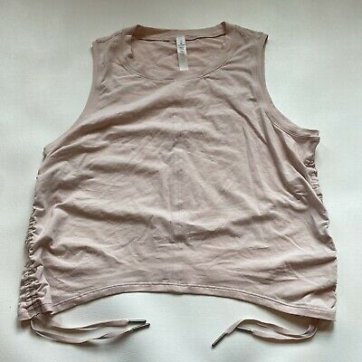 $ CDN31.67 • Buy Lululemon Size 10 Pale Pink Curved Hem Crop Top With Ruched Side Drawstrings