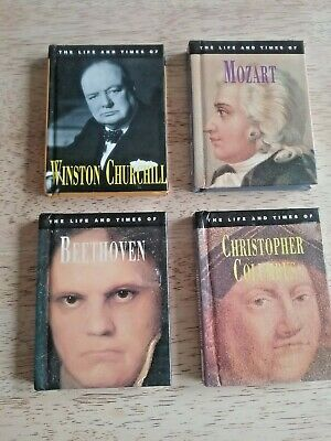 £12.50 • Buy 4x Miniature Books,  The Life And Times Books Photos Chirchill, Columbus, Mozart