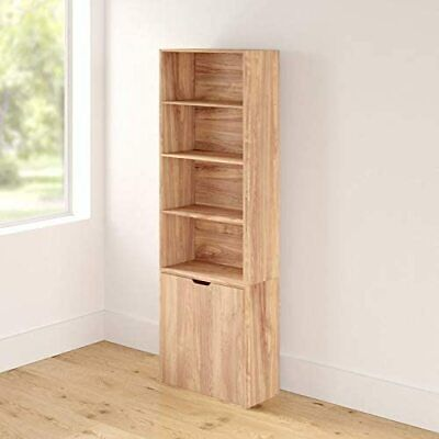 £63.99 • Buy Tall Bookcase Storage Set Oak Shelving Unit 6 Tier With Doors