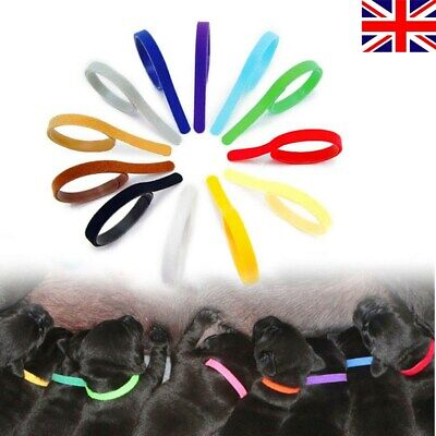 £4.25 • Buy 12x Whelping ID Identification Bands Litter Puppy Kitten Pet Dog Collar Band Tag